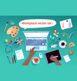 set office workplace items vector image