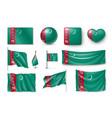 set turkmenistan flags banners banners symbols vector image vector image