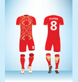 soccer jersey football t-shirt red gold color vector image