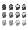 Think icons Thinking brain in human head icons vector image vector image