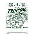 tropical tree leaves and sunglasses banner vector image