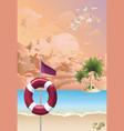 warning red flag on beach at dawn vector image vector image