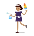 Cleaning Woman in Maid Uniform vector image