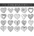 Hand drawing hearts doodle setOutline geometric vector image