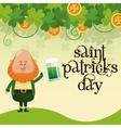 saint patricks day leprechaun drinking beer vector image