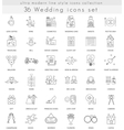 wedding ultra modern outline line icons for vector image