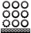 9 different cogwheels rackwheels pinions vector image