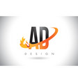 ad a d letter logo with fire flames design and vector image vector image