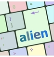 alien on computer keyboard key enter button vector image vector image