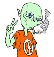 alien smoking vector image vector image