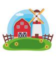 barn windmill house farm vector image