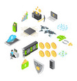 blockchain technology icons set isometric style vector image