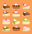 cakes and pastry icons vector image vector image