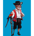 cartoon one legged old pirate with a crutch vector image