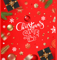 christmas sale concept banner with baubles and vector image vector image