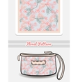 Cosmetic Bag Pink And Blue Flowers vector image vector image
