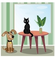 Dog and cat in room vector image vector image