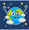 Earth planet with confused face among stars and