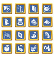 election voting icons set blue square vector image