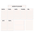 elegant weekly planner template isolated vector image
