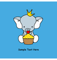 elephant with a muffin vector image vector image