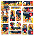 fast food junk meal and drink labels and tags vector image vector image