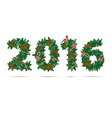 Festive christmas and new year wreath figures 2015 vector image vector image