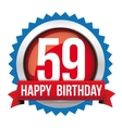Fifty Nine years happy birthday badge ribbon vector image
