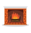 Fireplace with vector image