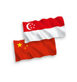 flags singapore and china on a white background vector image