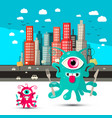 funky alien cartoon aliens with city on vector image vector image