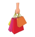 Hand with packages shopping icon cartoon style vector image vector image