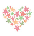 heart with starfish vector image