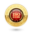 iso 3166 certified medal - country codes vector image vector image