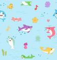 kawaii shark seamless pattern cute funny fish vector image vector image