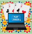 laptop with the poker application on the screen vector image