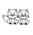 line cute couple fox wild animal with beautiful vector image vector image