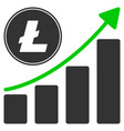 litecoin growing chart trend flat icon vector image vector image