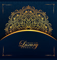 luxury mandala background design with golden color vector image