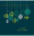 merry christmas color greeting card template vector image
