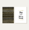 Merry christmas joy card set pattern gold tribal vector image