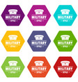 military hat icons set 9 vector image vector image