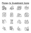 money investment icons set in thin line style vector image