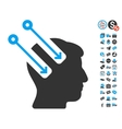 Neural Interface Icon With Free Bonus vector image vector image