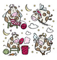 new year cow characters christmas bull vector image vector image