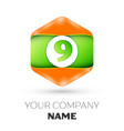 number nine logo in the colorful hexagonal vector image vector image