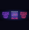 online poker is a neon sign logo symbol in neon vector image
