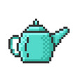 outlined pixel icon brewing teapot fully vector image vector image