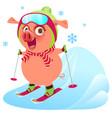 pink funny merry pig symbol 2019 year skiing ski vector image vector image
