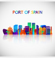 port spain skyline silhouette in colorful vector image vector image
